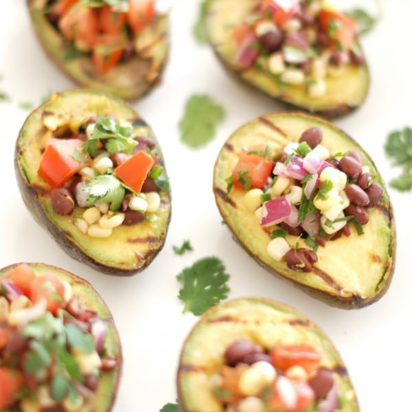 Grilled Avocados Filled with Corn Black Bean Salsa
