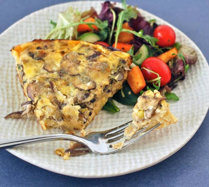 Baked Mushroom Leek Frittata on Plate with Fork
