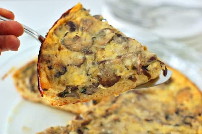 Baked Mushroom Leek Frittata Slice