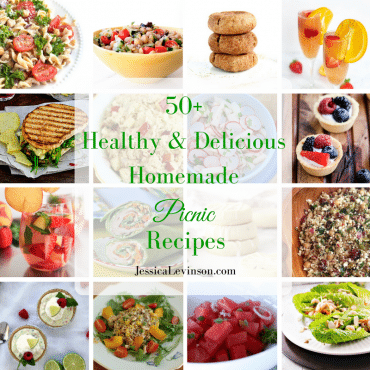 50+ delicious and healthy homemade picnic recipes that are perfect for enjoying the beautiful days of spring and summer outdoors with your family! Get the recipe roundup at JessicaLevinson.com | #picnic #healthyrecipes #springrecipes #spring #picnicday
