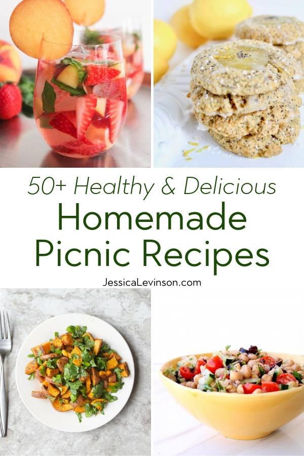 Healthy Homemade Picnic Recipes with Collage with Text