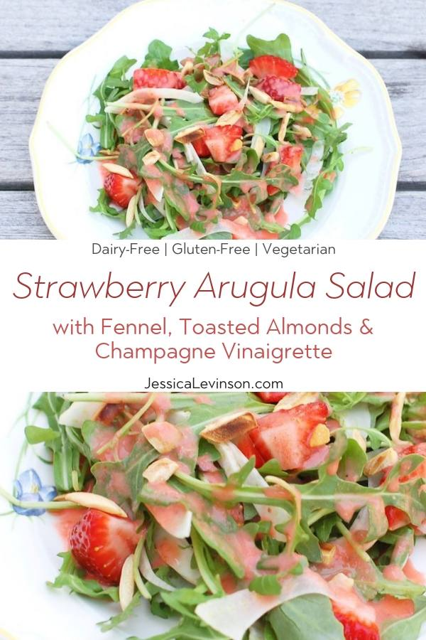 Strawberry Arugula Salad Collage with Text Overlay