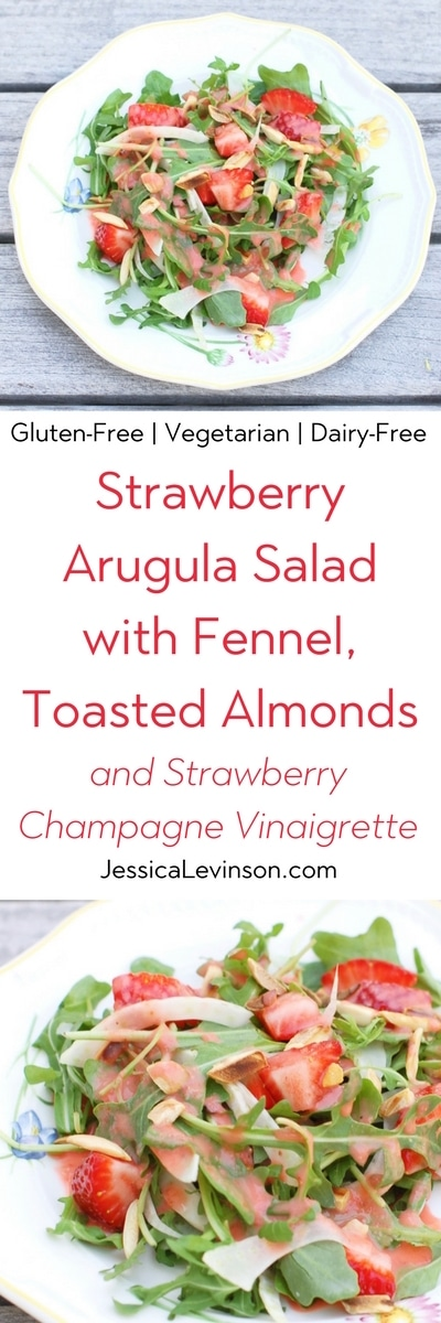 Strawberry Arugula Salad with Fennel, Toasted Almonds, and Strawberry Champagne Vinaigrette is a fresh and sweet salad for the spring and summer. Via JessicaLevinson.com | #salad #strawberries #glutenfree #veganfriendly #vegetarian #dairyfree #fennel