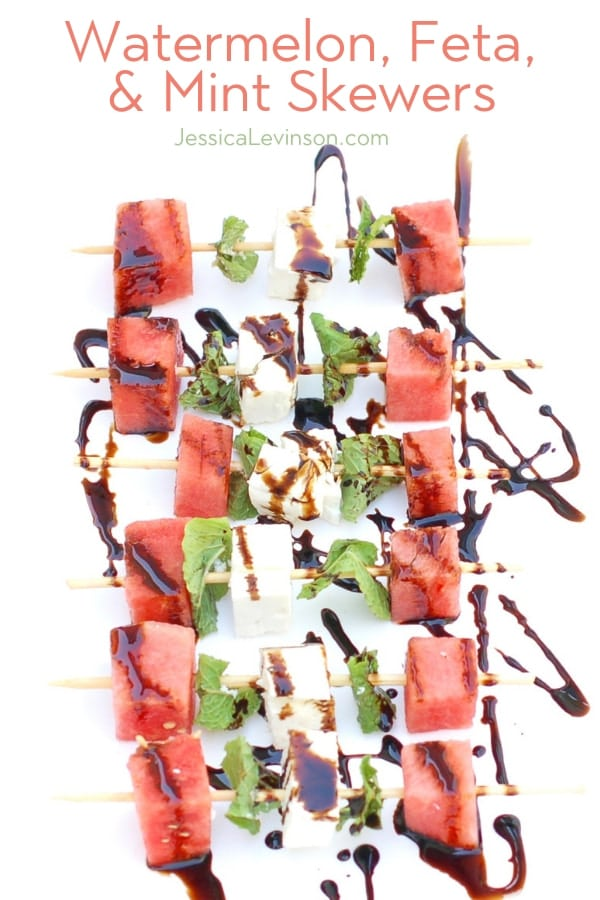 watermelon feta mint skewers drizzled with aged balsamic vinegar