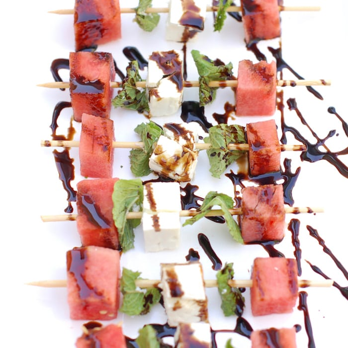 watermelon, feta cheese, and mint kebabs with balsamic glaze