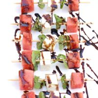 Watermelon, Feta, and Mint Skewers are an easy, healthy, and refreshing sweet and savory appetizer for a summer party. Get the gluten-free and vegetarian recipe @jlevinsonrd.