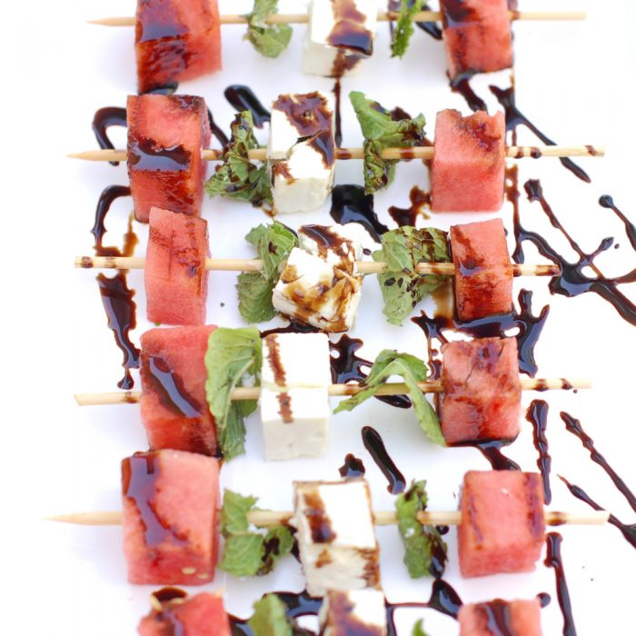 Watermelon, Feta, and Mint Skewers are an easy, healthy, and refreshing sweet and savory appetizer for a summer party. Recipe @ JessicaLevinson.com | #glutenfree #vegetarian #vegetarianrecipes #watermelon #summer #kidfriendly #feta #mint