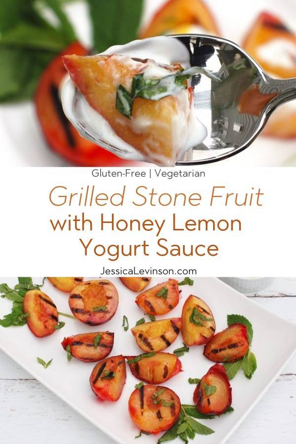 Grilled Stone Fruit Recipe Collage with Text Overlay