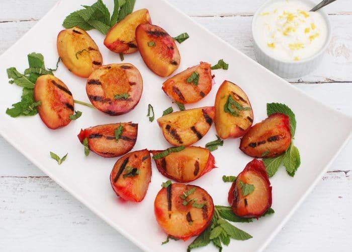 Grilled Stone Fruit on White Platter
