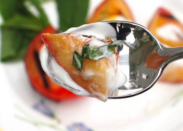 Grilled Stone Fruit on Spoon with Yogurt Sauce