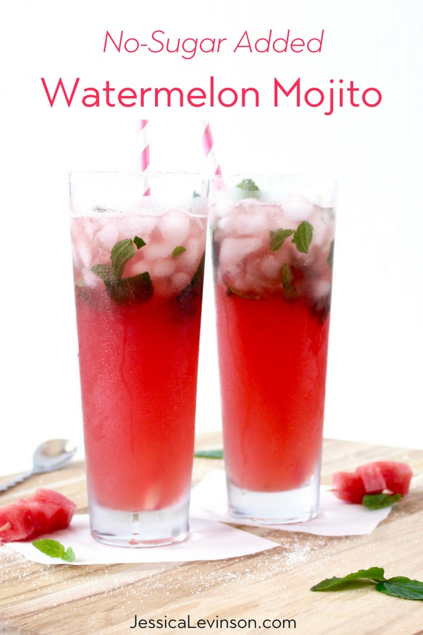 Sit back and relax this summer with a delicious and refreshing no-sugar added watermelon mojito full of the fresh flavors of summer!  Recipe via JessicaLevinson.com | #mojito #summercocktails #cocktails #watermelon #noaddedsugar