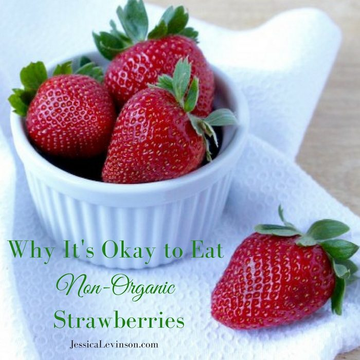 Whether you choose to buy organic or not, strawberries are safe to eat. Find out why it's okay to eat non-organic strawberries and get inspired to enjoy this delicious berry with over 40 nutritious and delicious strawberry recipes at JessicaLevinson.com