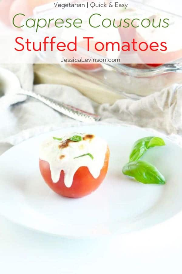Caprese Couscous Stuffed Tomatoes with Text Overlay