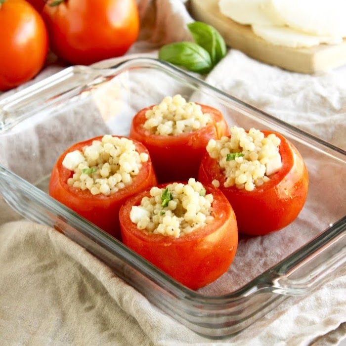 Caprese Couscous Stuffed Tomatoes in Glass Baking Dish