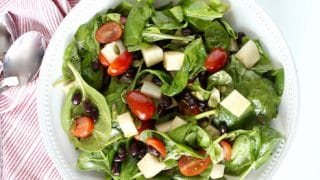 Spinach Salad with Jicama, Black Beans, and Lime Vinaigrette