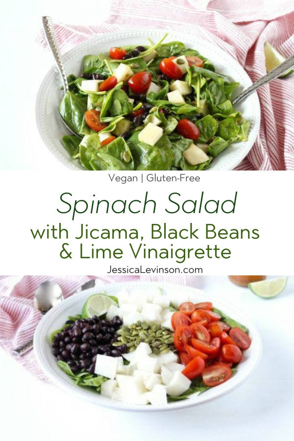 Spinach Salad with Jicama with Text Overlay