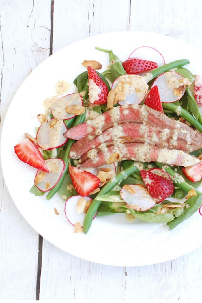 Summer Steak Salad Recipe on White Plate