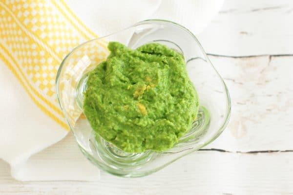 Overhead 3 ingredient minty pea dip