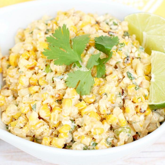 close up esquites mexican corn salad