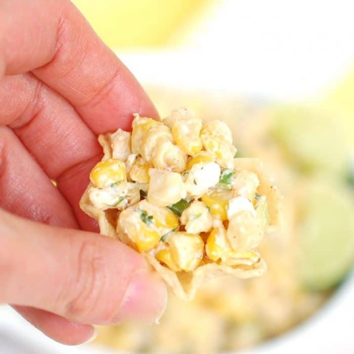 Tortilla Chip with Esquites Mexican Street Corn Salad