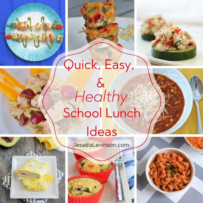 healthy school lunch square collage with text overlay