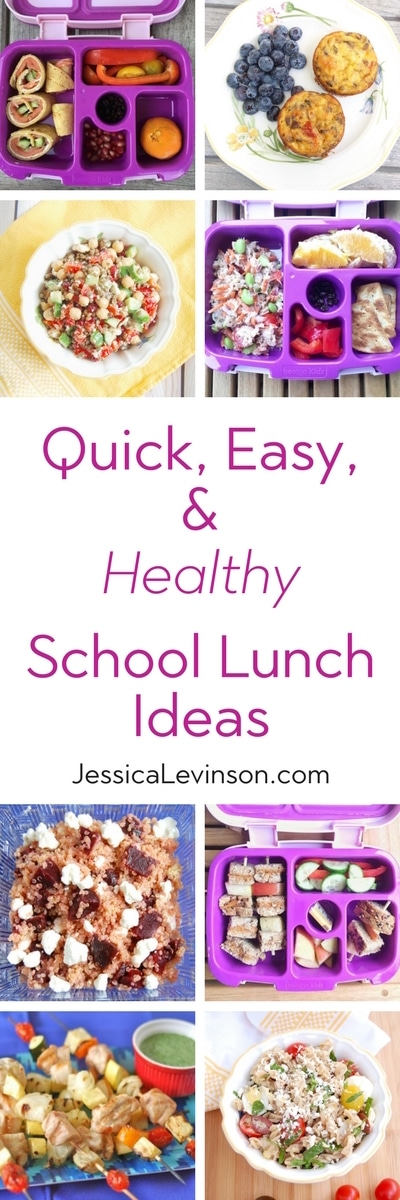 Packing a healthy school lunch for your kids is quick and easy with these five kid- and mom-approved ideas. Get the ideas and 40+ recipes to put them into action at JessicaLevinson.com | #backtoschool #schoollunch #feedingkids #kidseatright #healthylunchbox #lunch