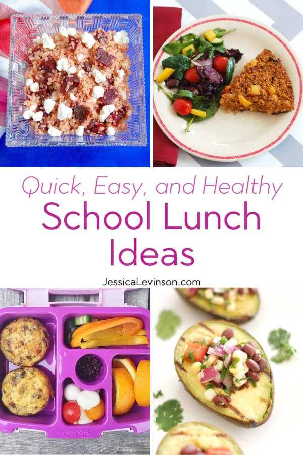 Healthy School Lunch Ideas Collage with Text Overlay
