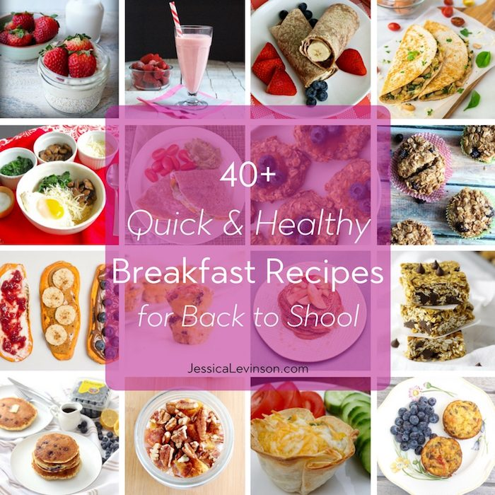 Quick and Healthy Breakfast Recipes Square Collage with Text Overlay