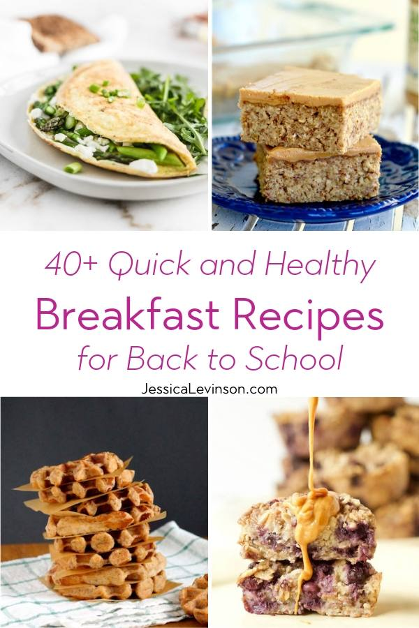 Quick and Healthy Breakfasts Collage with Text Overlay