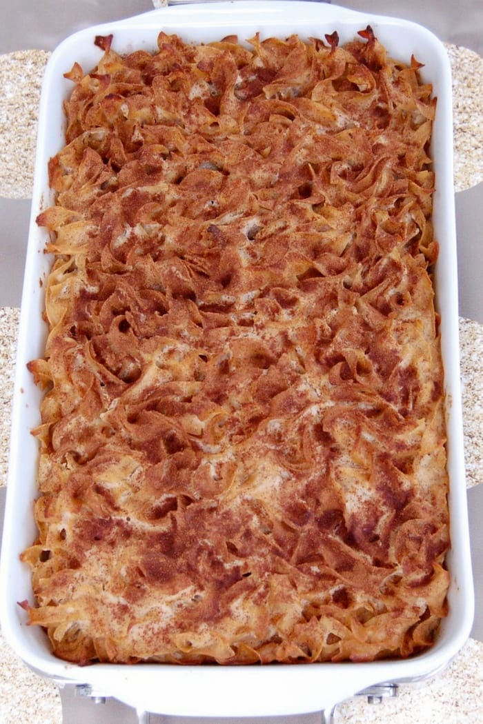 cinnamon apple noodle kugel casserole