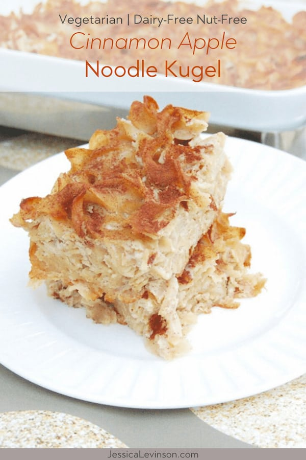 cut pieces of cinnamon apple noodle kugel on plate