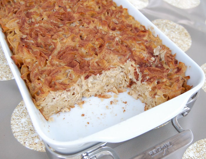 cut Cinnamon Apple Noodle Kugel in casserole pan