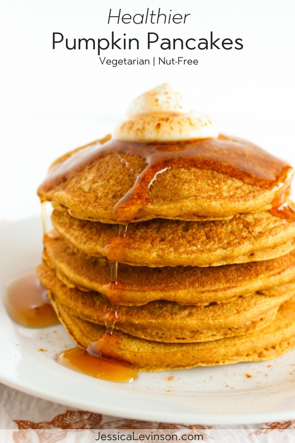 Healthier Pumpkin Pancakes Image with Text Overlay