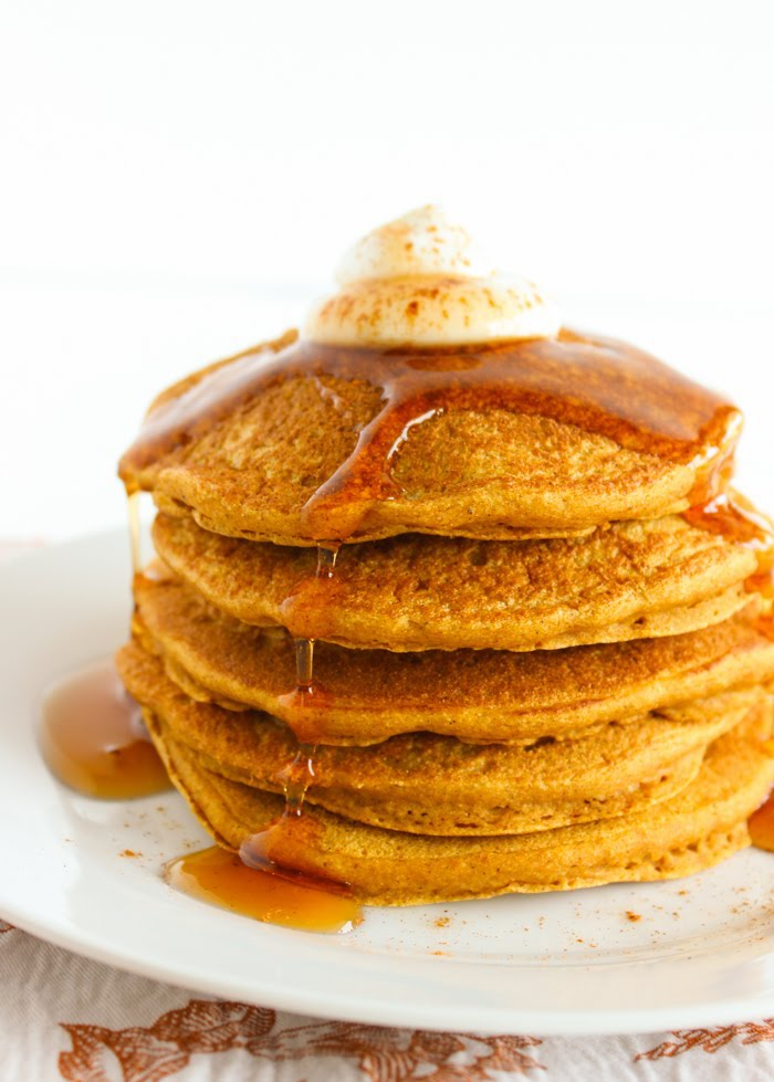 Healthier Pumpkin Pancakes Close Up