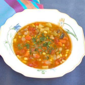 Late Summer Vegetable Soup in Bowl