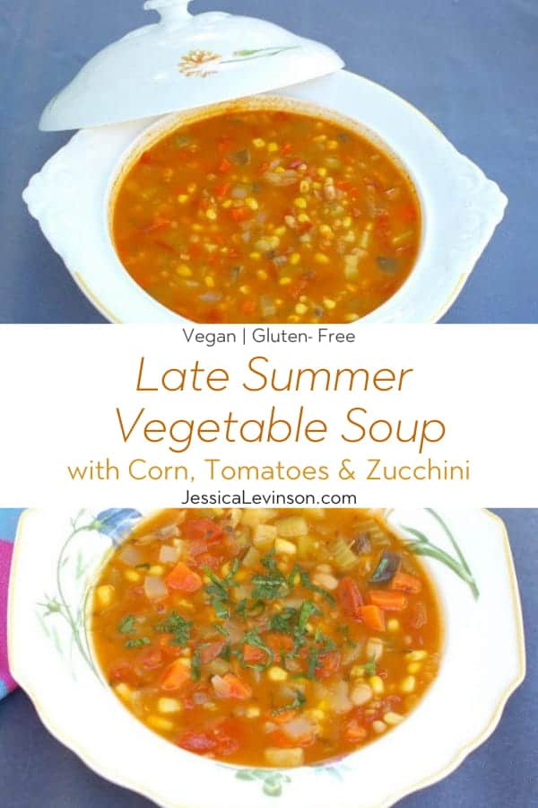 Late Summer Vegetable Soup Collage with Text Overlay
