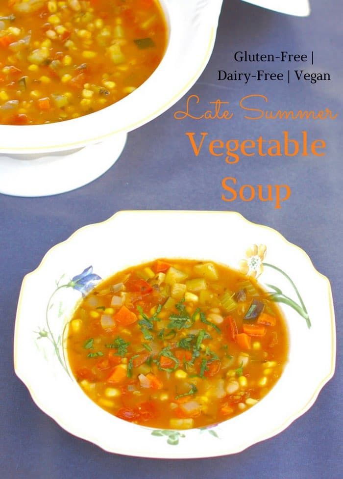 Late Summer Vegetable Soup with Text