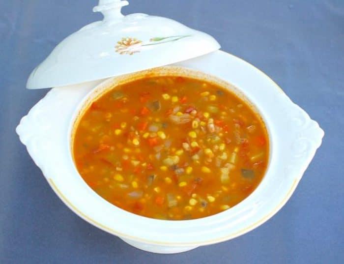 Late Summer Vegetable Soup Overhead
