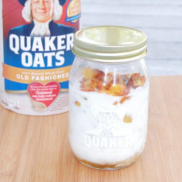 peaches and cream overnight oats in Quaker Oatmeal mason jar