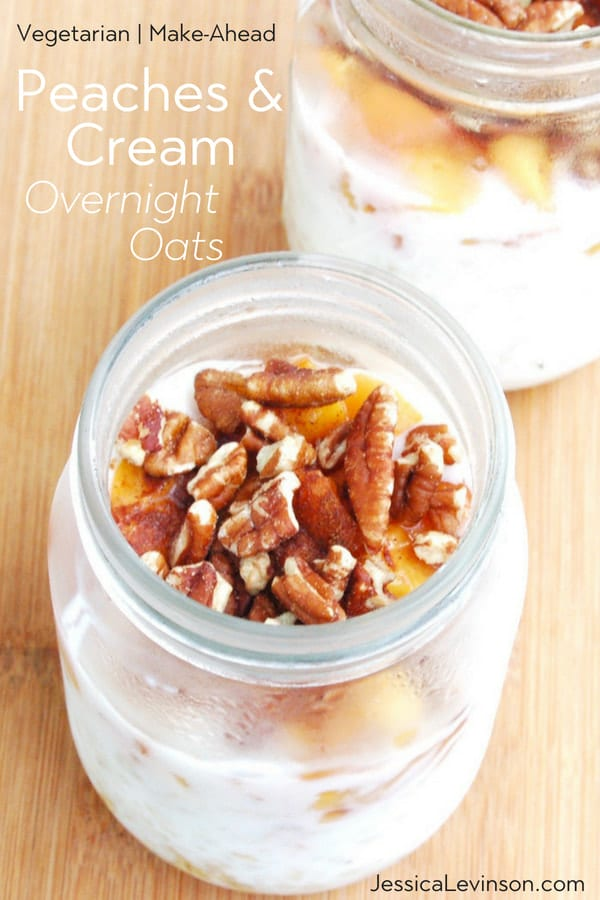 peaches and cream overnight oats in mason jars are a vegetarian, make-ahead breakfast