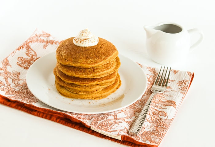 Healthier Pumpkin Pancakes On Plate