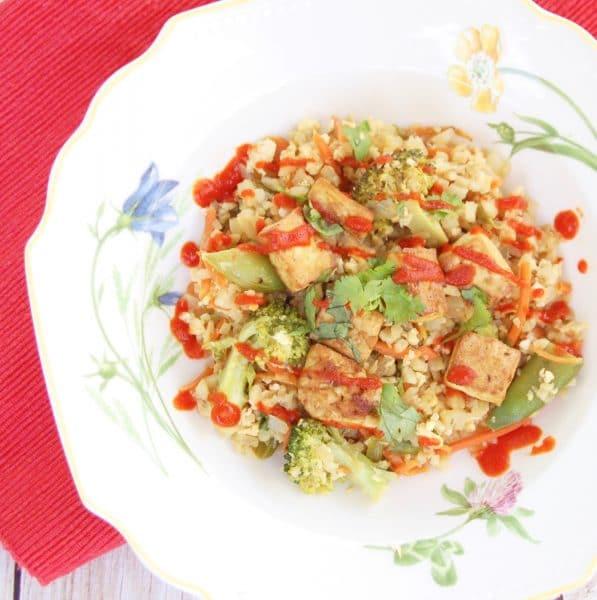 Veggie Cauliflower Fried Rice with Crispy Baked Tofu