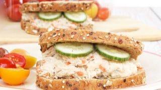 Mayo-Free Tuna Hummus Salad Sandwich