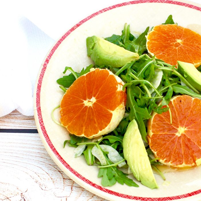 Crunchy fennel, sweet Cara Cara oranges, creamy avocado, and peppery arugula are tossed with a Champagne-lemon vinaigrette in this Citrus Fennel Salad. Vegan and gluten-free.