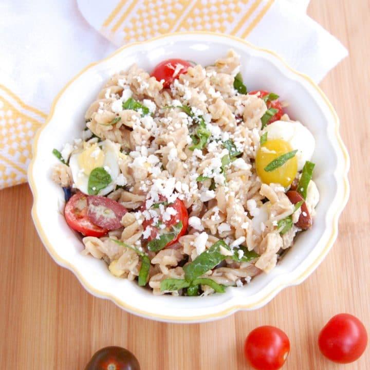 nicoise pasta salad in serving bowl