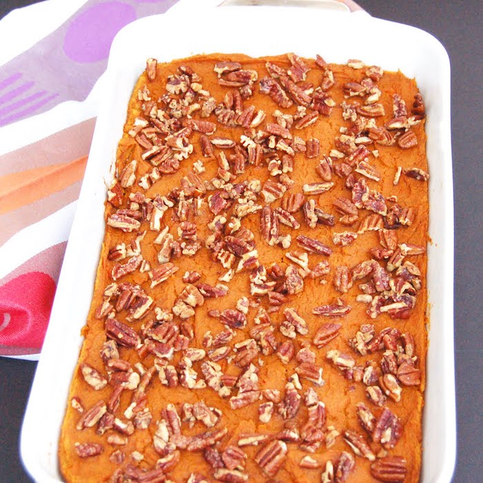 Lightened-Up sweet potato carrot casserole with maple pecans is a healthier thanksgiving side dish