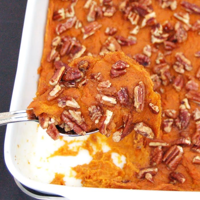 Close Up of Lightened Up Sweet Potato Carrot Casserole