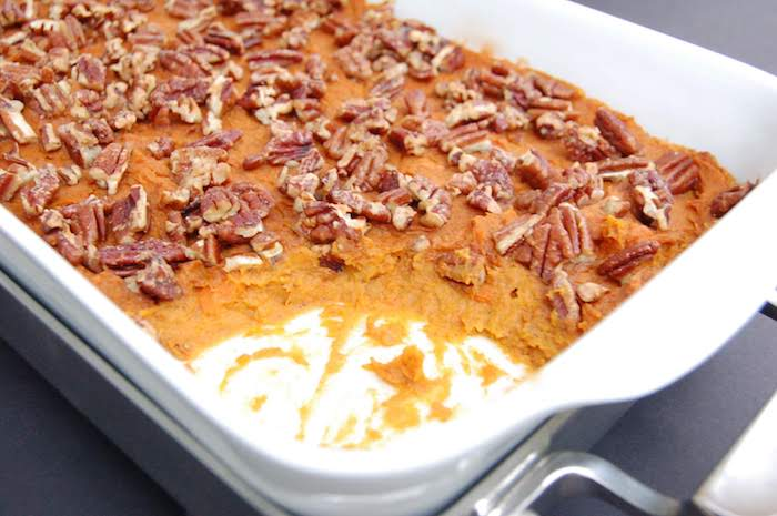Lightened Up Sweet Potato Carrot Casserole with Pecans