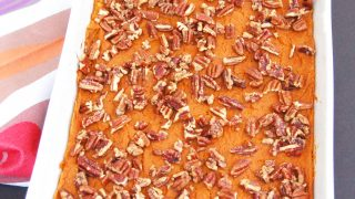 Lightened-Up Sweet Potato Carrot Casserole with Maple Pecans