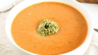 Tomato White Bean Soup with Kale Pesto